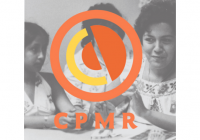 CPMR logo over black & white photo of women