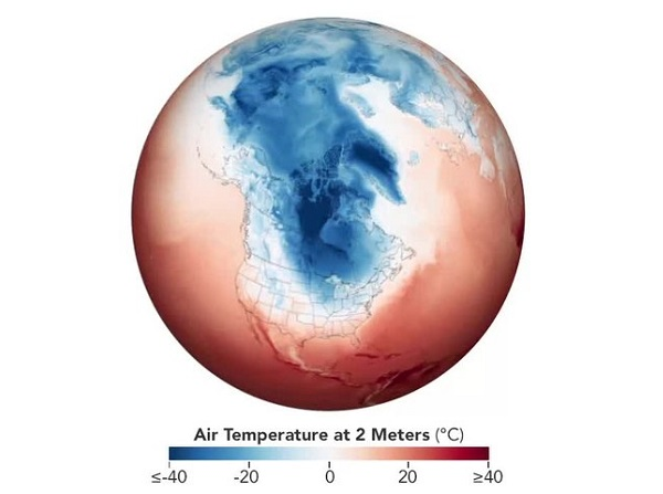 illustration of Earth with temperature scale during 2019 polar vortex