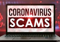laptop screen that says: Coronavirus scams