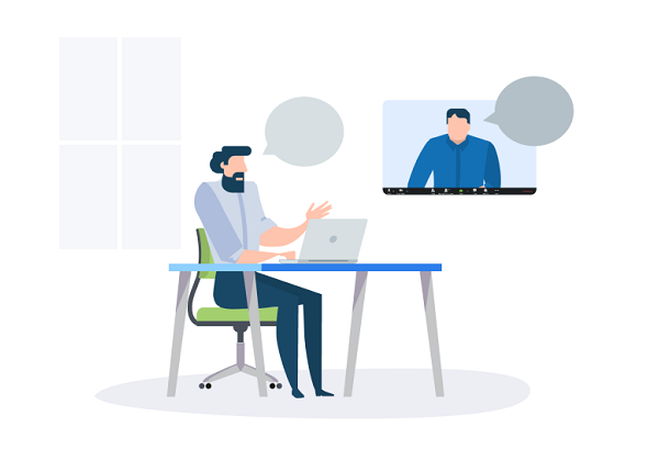 illustration of man at desk teleconferencing with another man