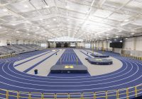 U-M indoor track and field complex housed within the Stephen M. Ross Athletics South Competition and Performance Center