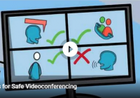 illustration of monitor with four quadrants of people on videoconference