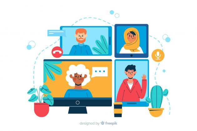 illustration of four people videoconferencing on various devices