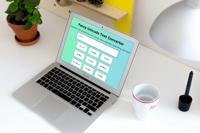 laptop on desk showing Fancy Unicode UX