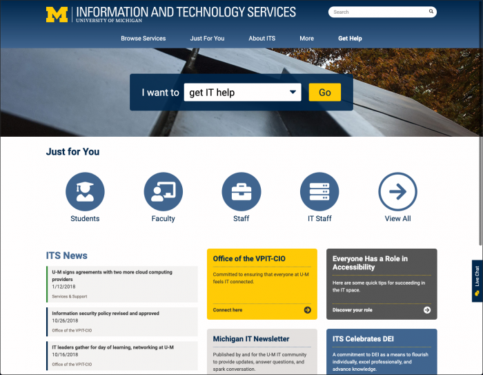 screencapture of new ITS web page