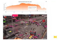 screenshot of NY city live cam with distancing graph above.