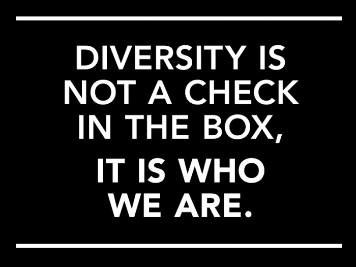 "Text that reads: ""Diversity is not a check in the box, it is who we are."""
