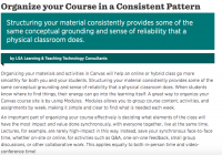 (Screengrab of the full article which offers advice on organizing course material online.)