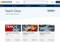 "(Screengrab of the University's Teach-Outs homepage. It has three visible courses: one called ""Free Speech in Sport Teach-Out,"" another called, ""Listening to Puerto Rico Teach-Out,"" and another called, ""Melting Ice Rising Seas Teach-Out."""