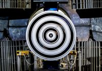 (Image of an X3 thruster. From the angle of the image, it looks like four white rings with a small metal bullseye.)