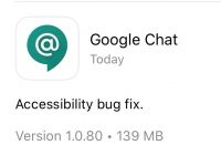 Google Chat bug fix notification