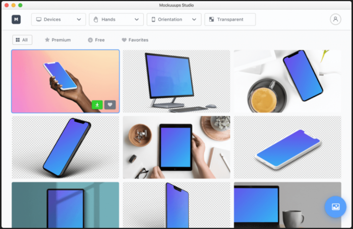 Examples of how the software takes any selected image and inserts it onto the screen of a computer, tablet, or phone within a visually pleasing scene