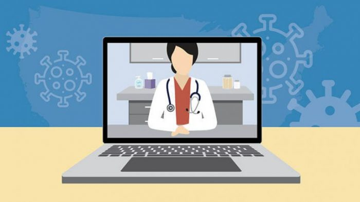 female physician on laptop screen