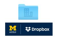 A blue file folder and the U-M Dropbox logo