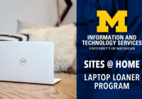 "An open laptop on a table. Text on the right reads, "" Sites @ Home laptop loaner program."""