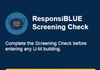 Responsi-blue screening check logo and entry point to the health screening tool.