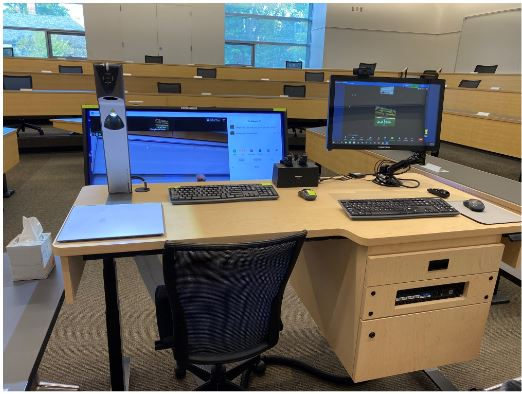 A view of the instructor's in-classroom set up that includes a desk, confidence monitor, computer monitor, keyboards, and a laptop.