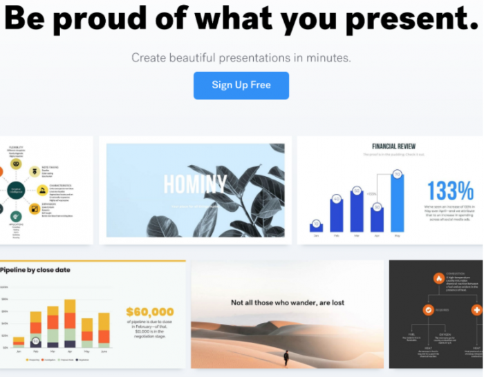 """""""Be proud of what you present."""" This images shows a collage of presentation templates."""