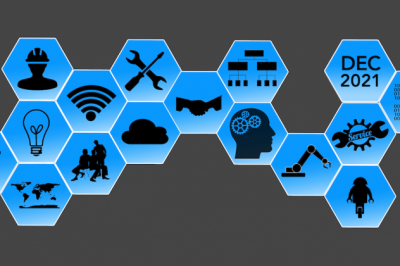 16 connected honeycomb shapes with icons inside that include a lightbulb, gears, a cloud, and the retirement date of Dec. 2021.