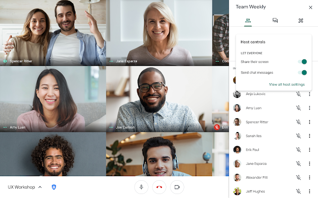 Google Meet session. On left are 6 pictures of participants. On right is the open People tab in the sidebar with the Host controls pop-up showing.