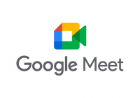 "White background with the new Google Meet logo and the words ""Google Meet"" in the middle."
