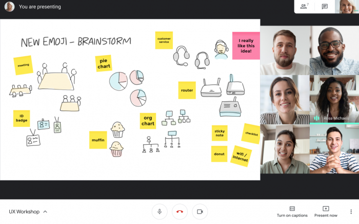 Google Meet session. On left is an open jam with post-it notes and drawings. On the right are the images of the participants.