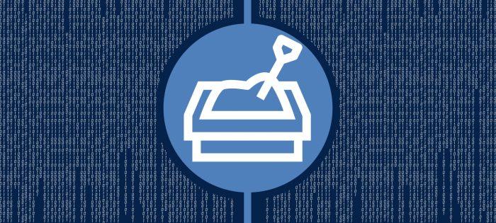 illustration of sandbox with shovel over computer code background