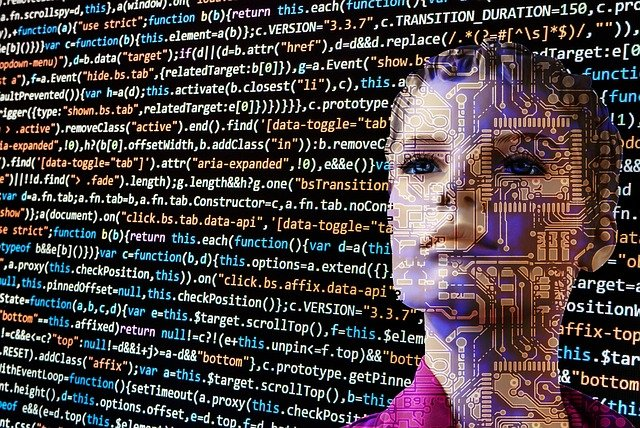 womans face superimposed over screen of computer code