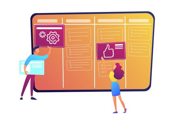Programmers putting cards on kanban board vector illustration. Scrum planning of teamwork and agile organizer, project management system, startup and management concept. Isolated on white background.