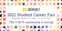 Decorative banner for the Student Career Fair that was held in January 2021.