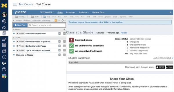 Screenshot of Piazza dashboard