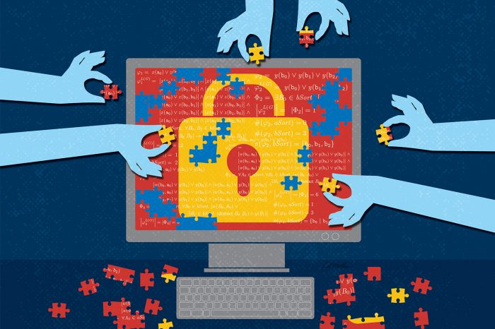Jigsaw puzzle image of a padlock on a computer screen with hands putting in the pieces.
