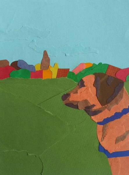 artwork of dog in a field
