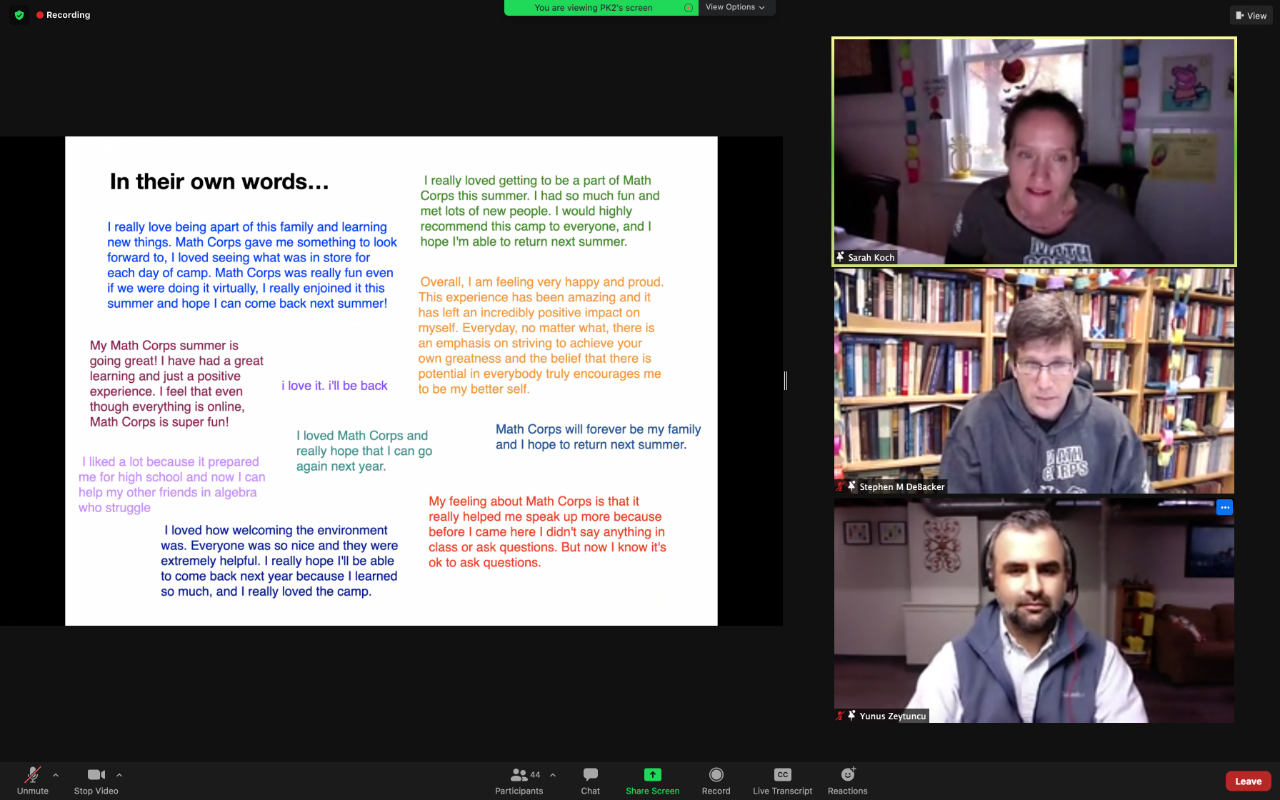 screenshot of student quotes and three instructors