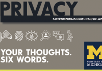 "Decorative image that reads, ""Privacy: your thoughts, six words"""