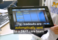 Tablet with word overlay: The readouts are automatically send to a 24/7 care team.