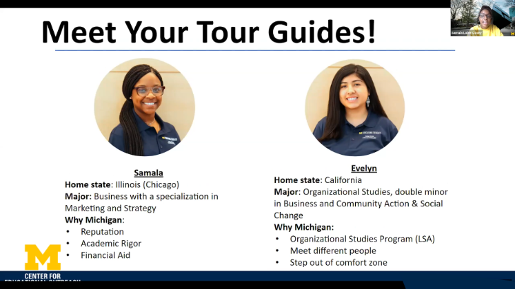screenshot of two student virtual guides