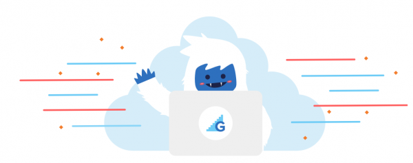 abominable snowman working on laptop with Gradecraft logo