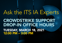 Ask the experts graphic inviting students, faculty, and staff to attend office hours with information assurance.