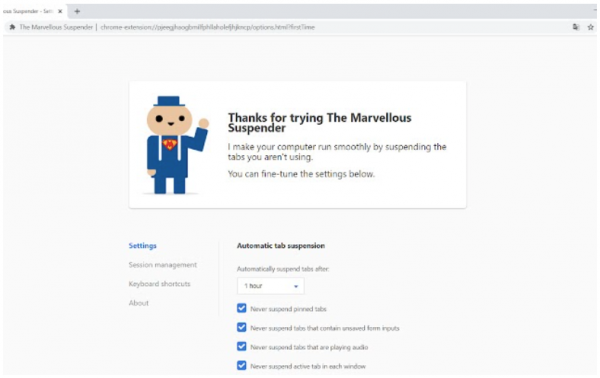 """A cartoonish figure says """"thank you for trying the Marvellous Suspender"""" and shows the settings."""