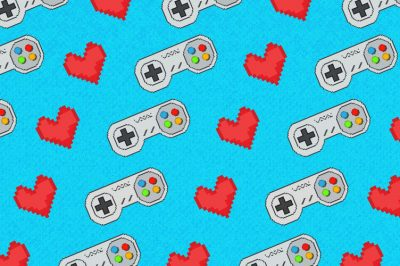 A tessellated pattern of pixelated hearts and Nintendo controllers.