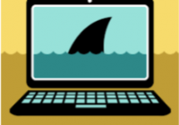 Image of a computer screen with a shark fin displayed on it.