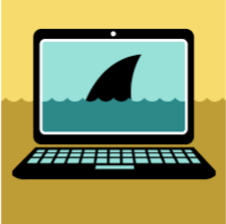 A cartoon laptop with wavy lines to indicated water, and a shark fin just barely visible.