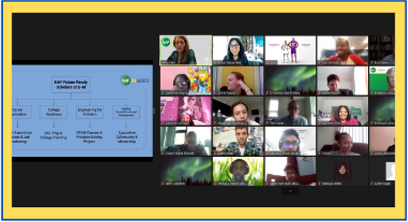 Two blocks of images: on the left, course content and on the right, a tiled view of participating students.