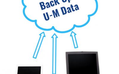 Image of 3 laptops sending data into a cloud labeled Back up U-M Data.