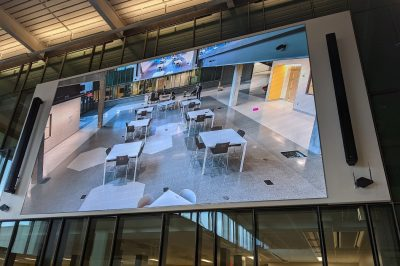 A photo of a video wall.