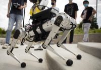 A close up view of the mini cheetah robot.
